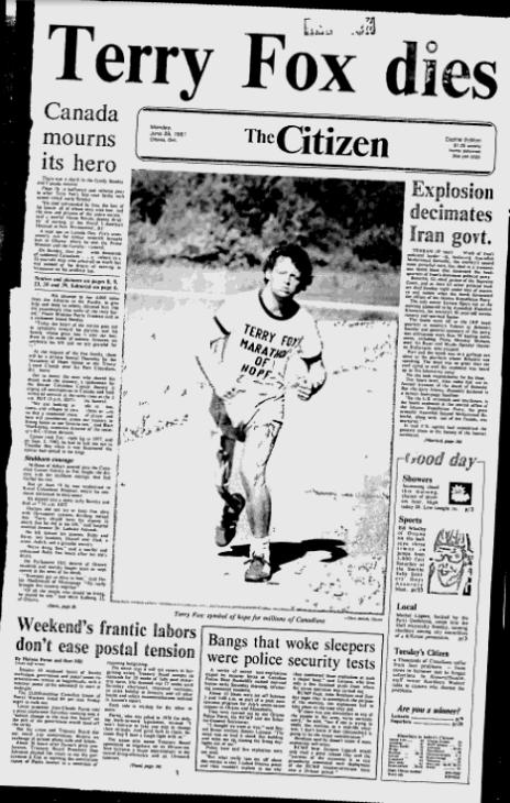 Terry Fox death