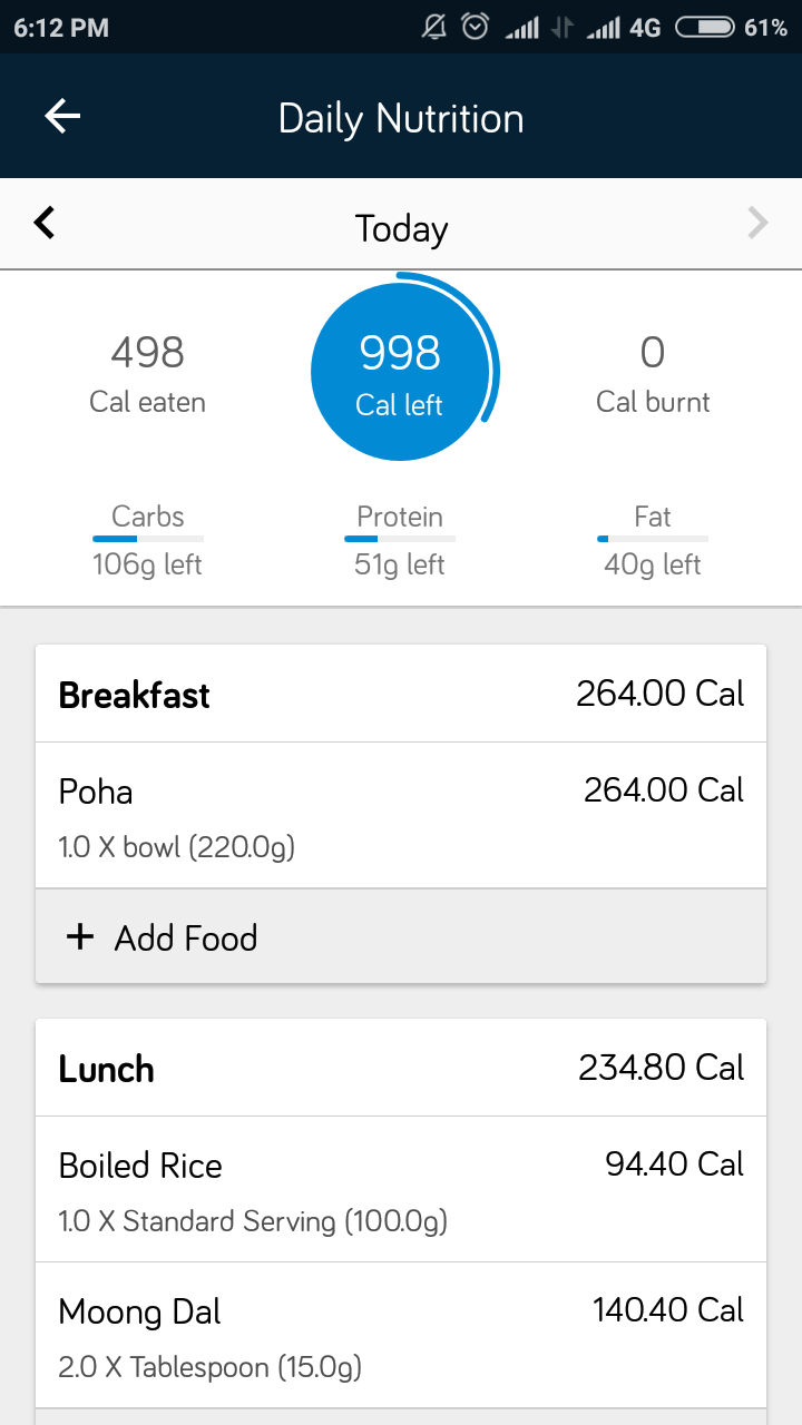 calorie calculator for indian food app