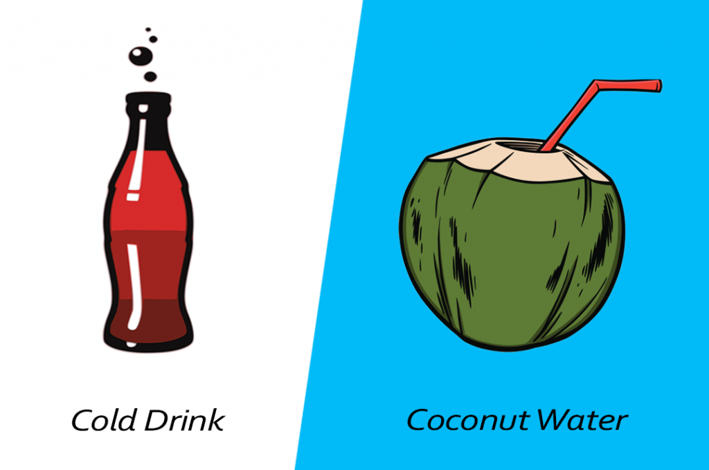 Intelligent food swap - coconut water over cold drink