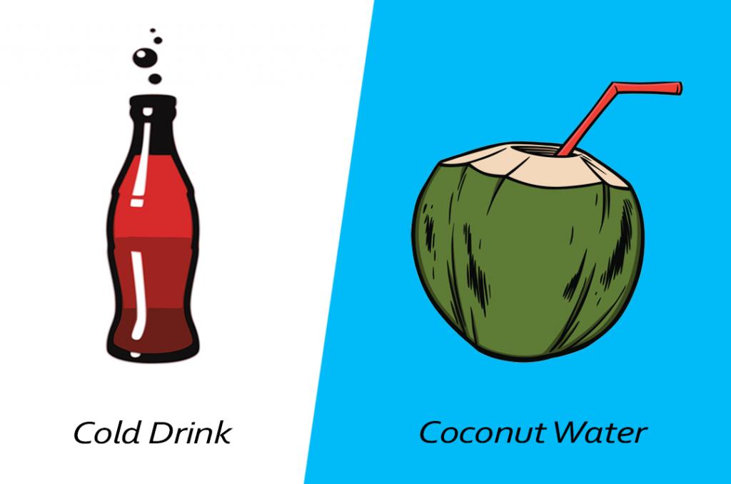 Intelligent food swap - coconut water over cold drink