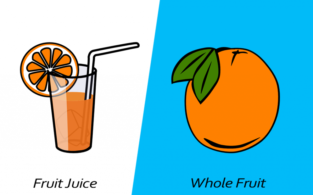 Intelligent food swap - Whole fruit over juice