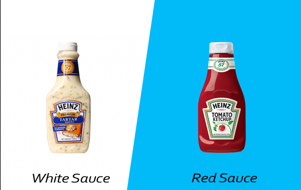 Intelligent food swap - Red Sauce over White Sauce