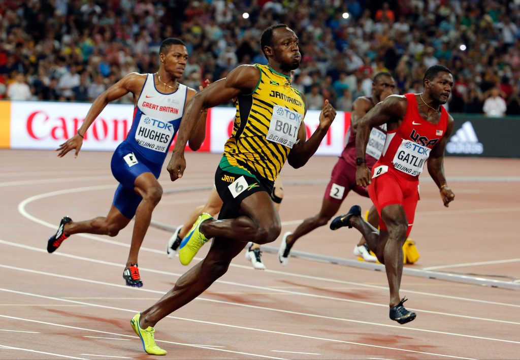 Jamaica's Usain Bolt races to the gold medal in the men's 200m final at the at the World Athletics Championships at the Bird's Nest stadium in Beijing, Thursday, Aug. 27, 2015. (AP Photo/Ng Han Guan)