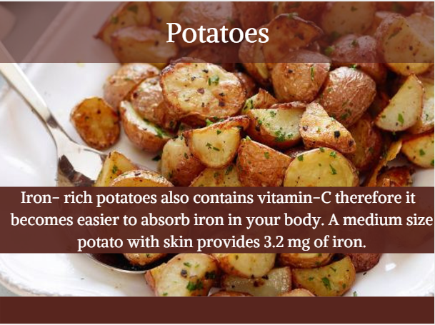 Potatoes - Indian iron rich food