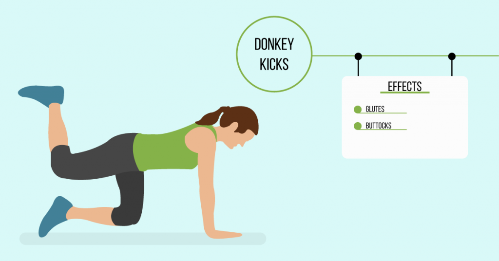donkey kicks: exercises for weight loss