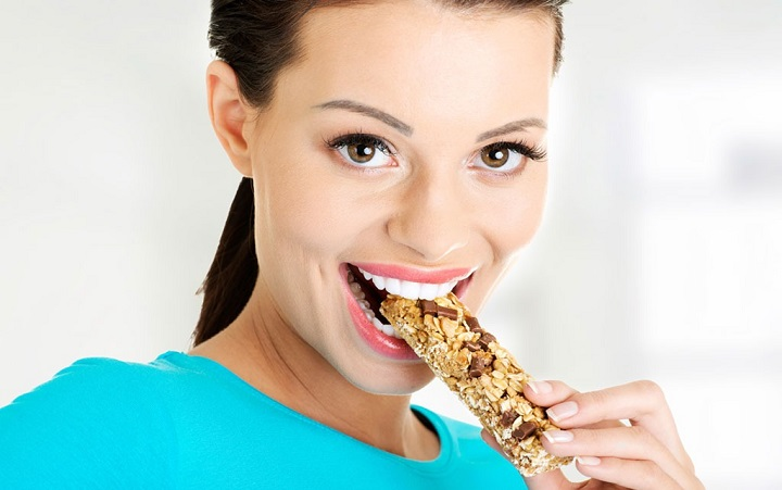 women eating protein bars india