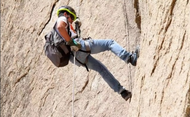 Rappelling at Bhongir Fort: adventure sports in hyderabad